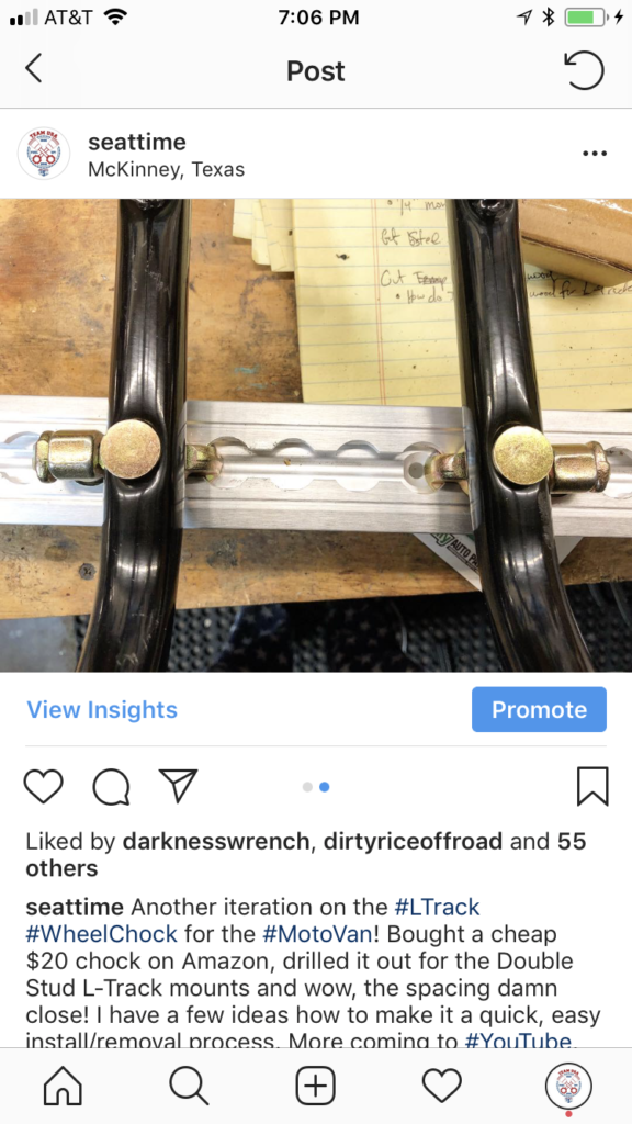 Screenshot of Instagram using double stud l-track fitting
