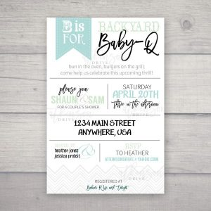This adorable Backyard Baby-Q co-ed shower invitation is the perfect way to ask friends and family to a celebration of a special little one!