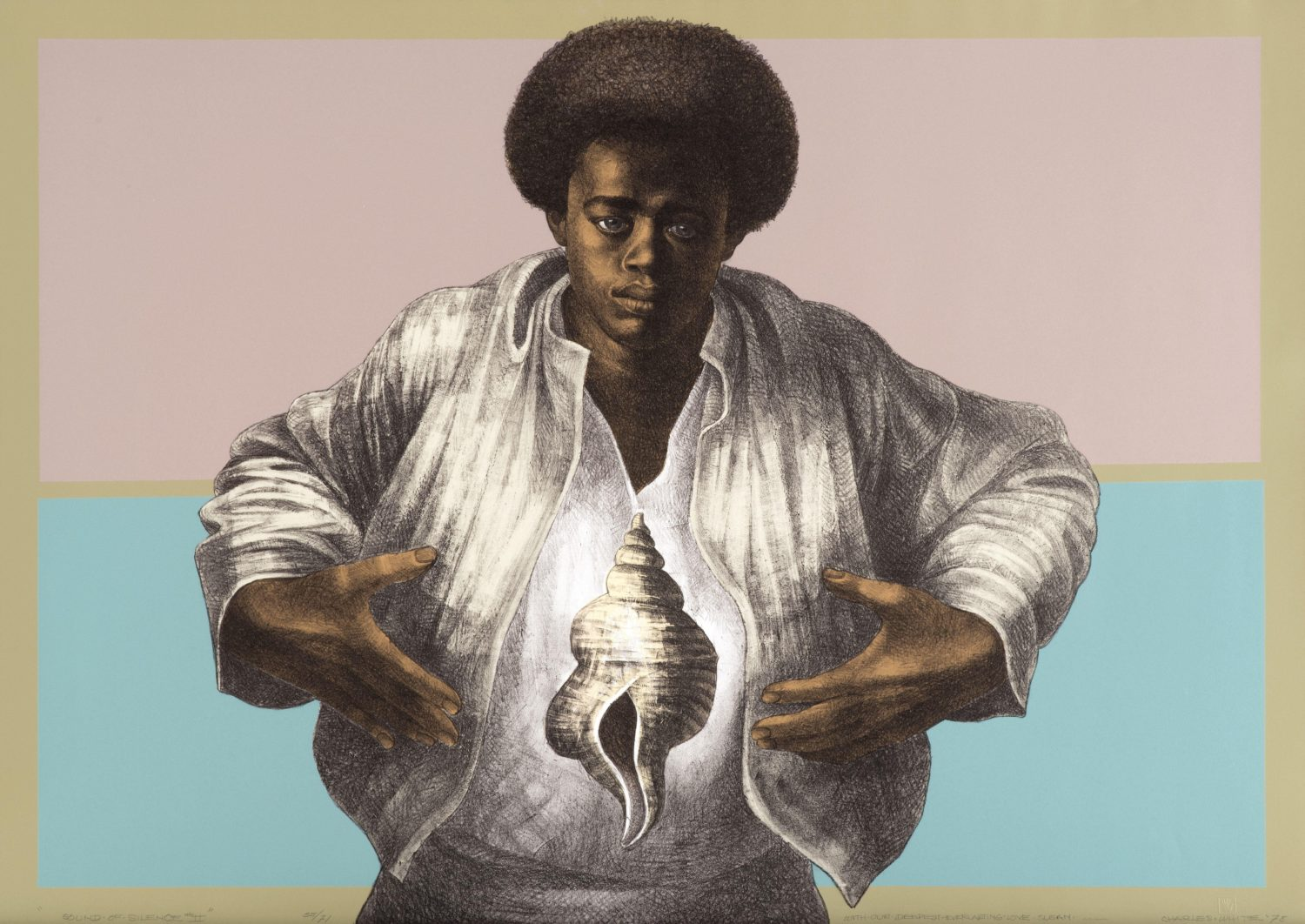 """Image of a color painting, titled """"Sound of Silence"""" by Charles White, featuring a man in a white shirt and a conch shell"""