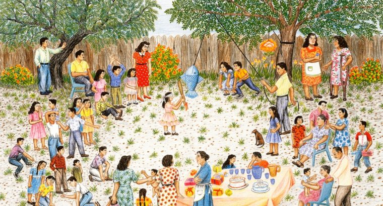 In a color lithograph depicting a birthday party, family and friends gather in a circle around a girl trying to hit a fish-shaped piñata