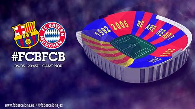 Anúncio do Barcelona do mosaico que será apresentado antes da partida contra o Bayern de Munique (Divulgação)