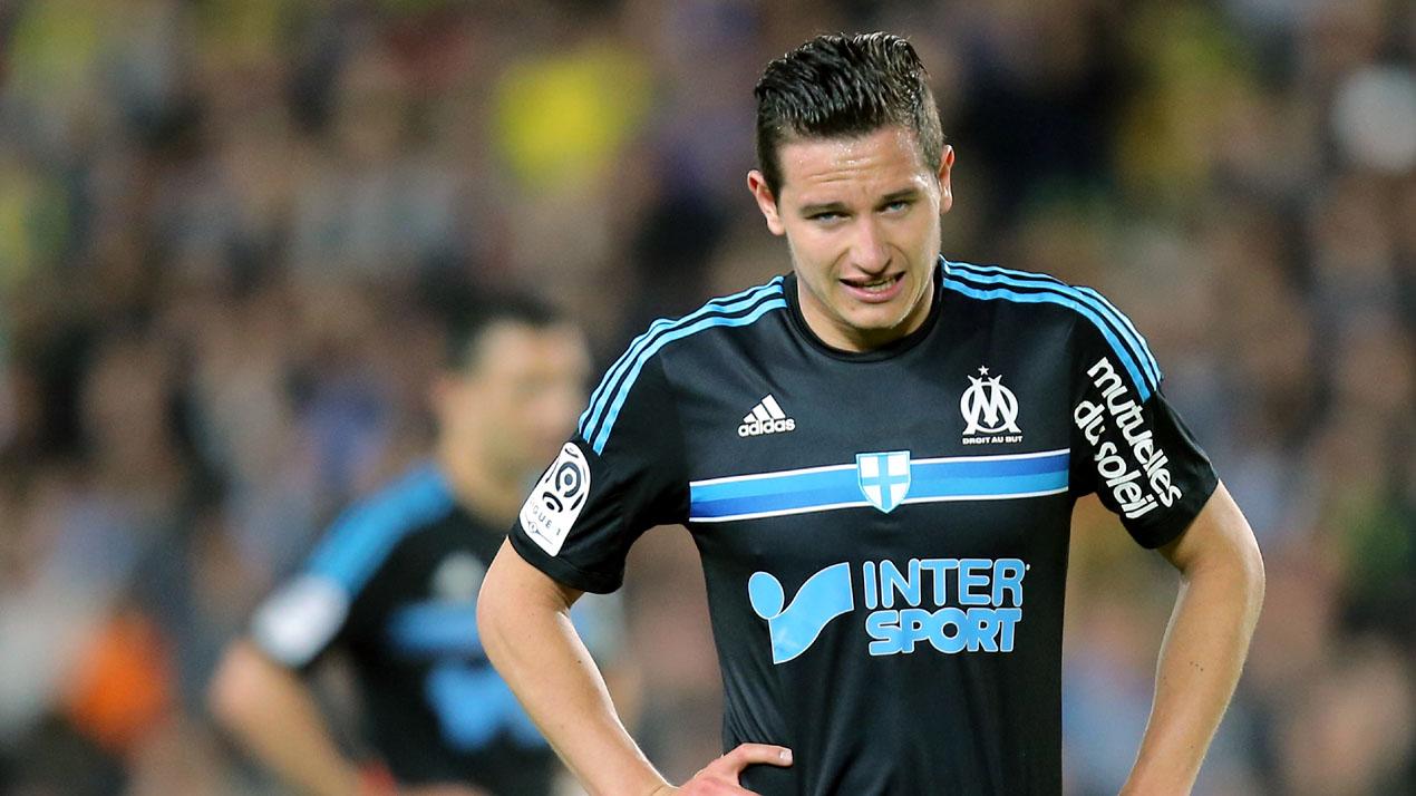 Florian Thauvin, do Olympique de Marseille, lamenta em jogo contra o Nantes, no dia 17 de abril (AP Photo/David Vincent)