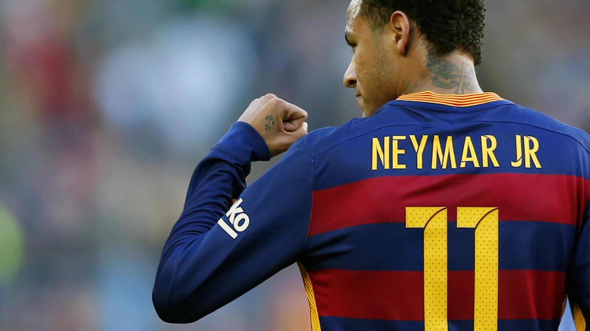Neymar comemora gol pelo Barcelona contra o Real Madrid (AP Photo/Manu Fernandez)
