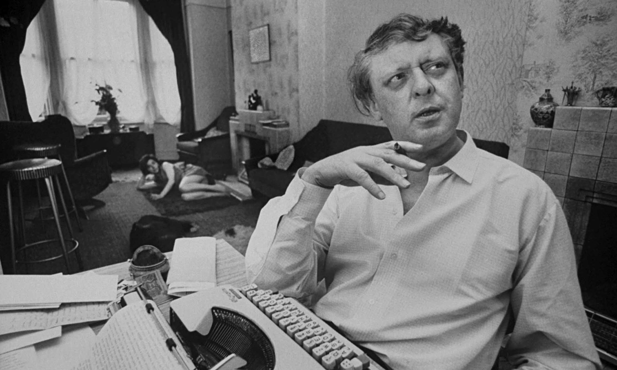 Anthony Burgess at home in 1968.