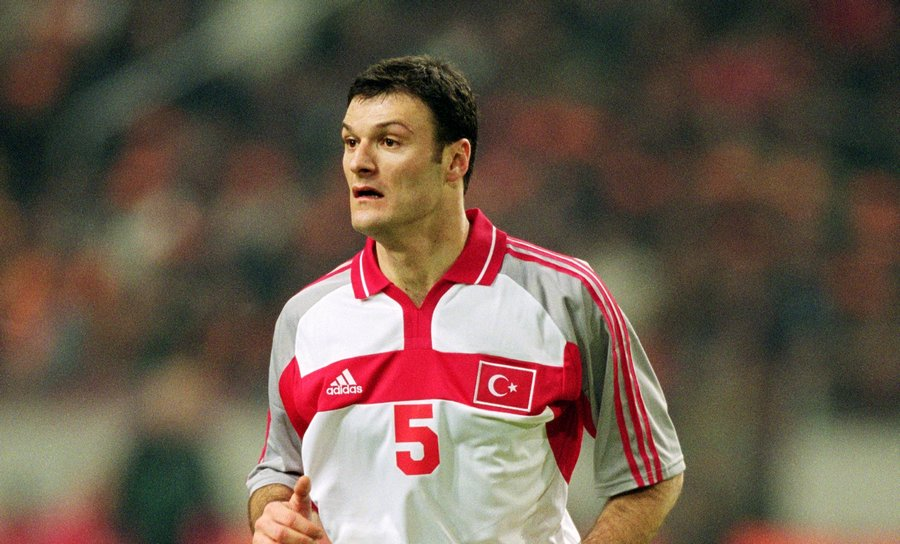 27 Feb 2001: Alpay Ozalan of Turkey in action during the International Friendly match against Holland played at the Amsterdam ArenA, in Amsterdam, Holland. The match ended in a 0-0 draw. Mandatory Credit: Steve Bardens /Allsport