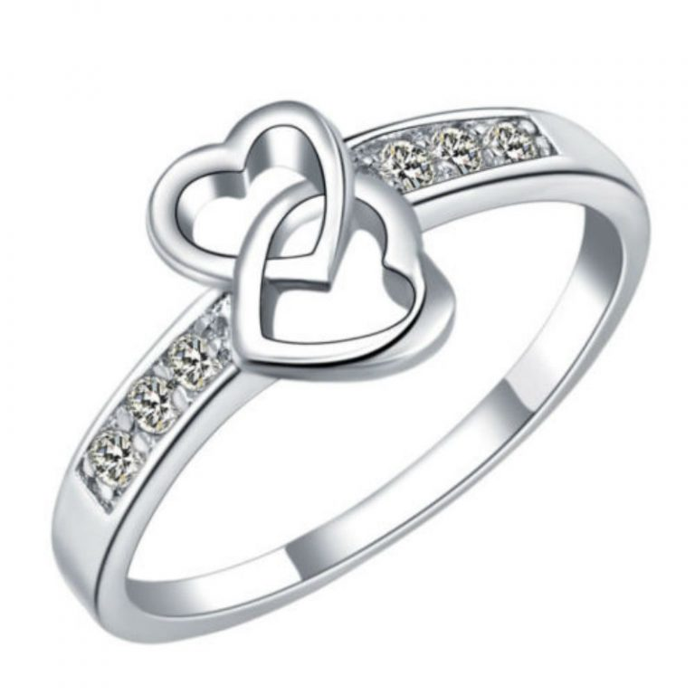 Impressive 25th Wedding Anniversary Rings With Eternity Love Romantic Fashion Double Hollow Heart Font B Wedding B Font Font B Anniversary B