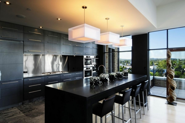 Custom Amazing Kitchen Designs With Black Kitchen Design Ideas Modern  Kitchen Black Kitchen Island Natural Light Modern Pendants