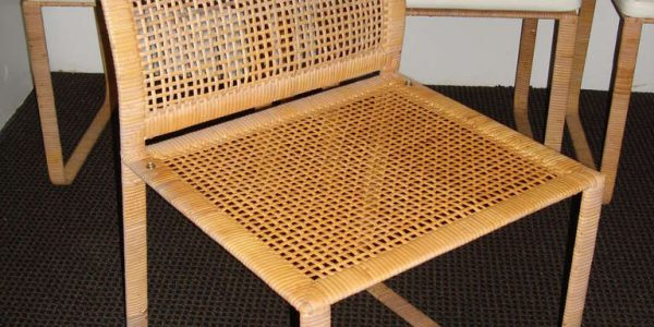 Luxury Rattan Dining Room Chairs With Minimalist Rattan Dining Chairs Colored In Brown With Lush White Cushion Or Seat