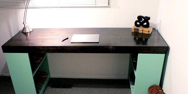 Minimalist Home Desks With DIY Desk With Bookshelf Legs