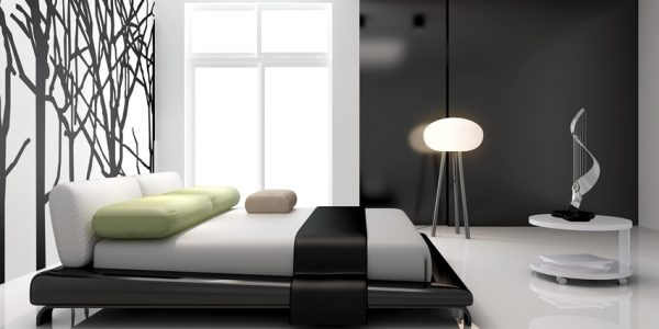 Simple Modern Room With Modern Bedroom Wall Mural