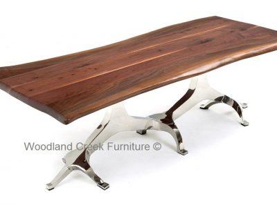 Custom Modern Wood Desk With Live Edge Slab Desk