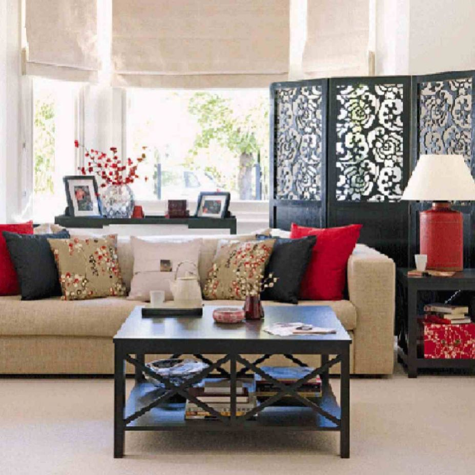 Unique Cheap Interior Design Ideas With Black Table Front Nice Couch Plus Amusing Cushions Color And Motive In Cheap Home Decoration With Casual Window Near Dark Divider