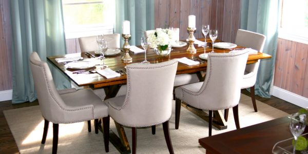 Beautiful Cloth Dining Room Chairs With Diningroom Gray Reveal Design With Wooden Dining Table Complete With Dishes And Glasses Are Also Candles Plus Six White Fabric Dining Chairs And White Carpet On The Wooden Floor