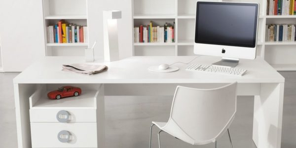Custom Modern White Desk With Big Shelf Facing Modern White Desk Plus Cool Table Lamp And Amusing Storage Near Chair