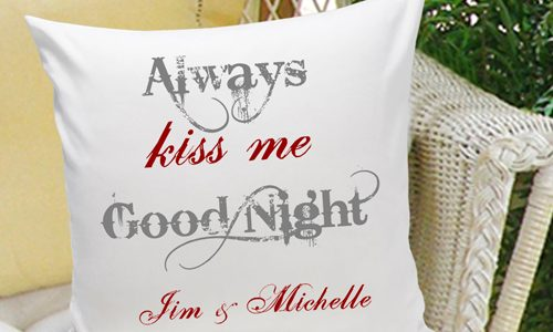 Awesome 2nd Year Wedding Anniversary Gift Ideas With Always Kiss Me Goodnight Pillow
