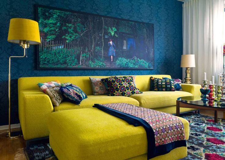 Trend Yellow Interior Design Ideas With L Shapped Yellow Sofa