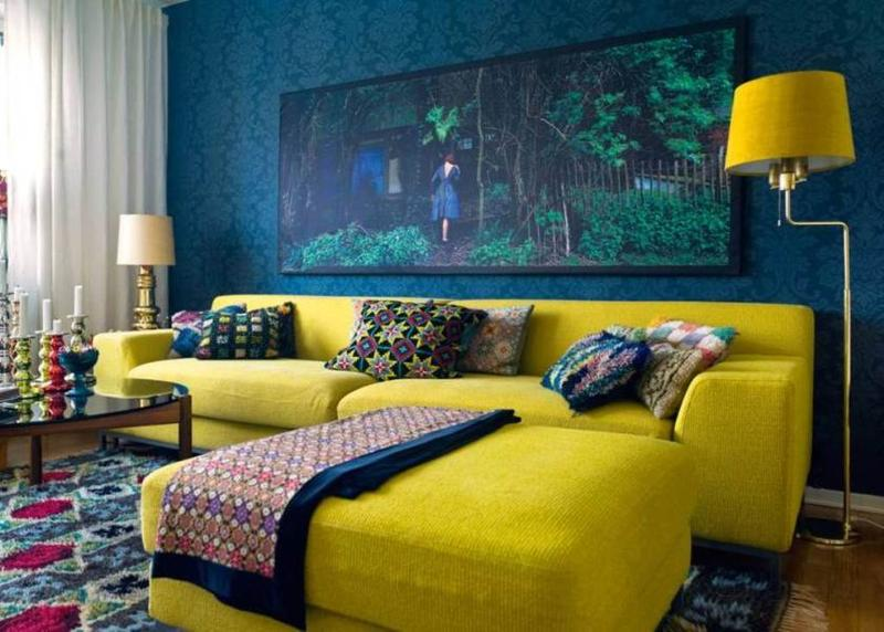 Great Yellow Interior Design Ideas With Bold Blue And Yellow Living Room