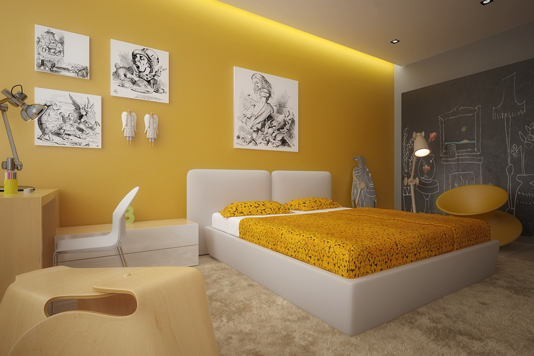 Amazing Yellow Interior Design Ideas With Extraordinary Kids Room By Yellow Bedrooms