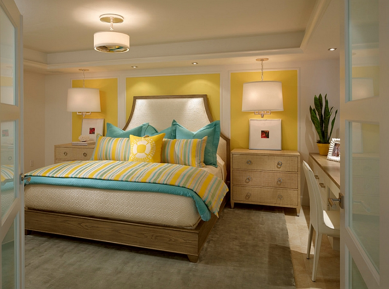 Great Yellow Interior Design Ideas With Small And Chic Bedroom In Yellow And Turquoise