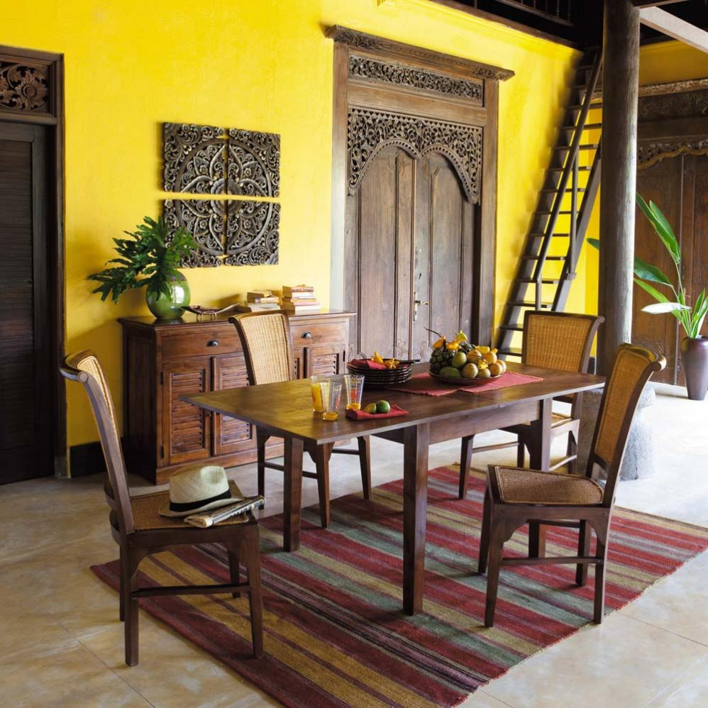 Great Yellow Interior Design Ideas With Striking Yellow Wall On Traditional Room Concept With Carving Wooden Doors And Chair Set