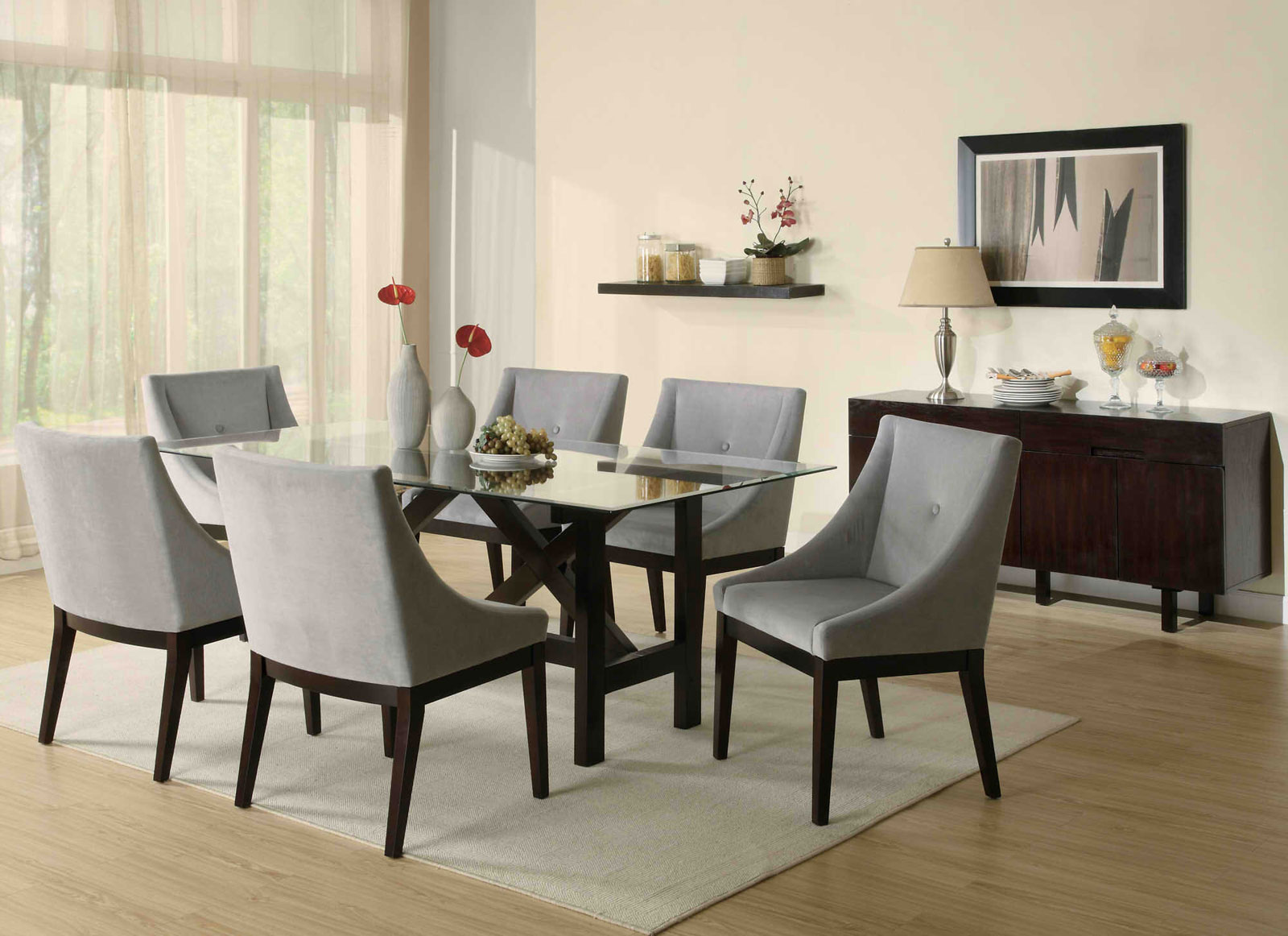Good Unique Dining Room Chairs With Charming Traditional Dining Room With Modern Dining Room Sets Furnished With Grey Chairs And Glass Table On Rug And Completed With Wooden Cupboards