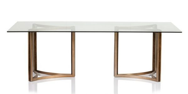 Brilliant Glass Table Dining Set With The Geometric Shape Of The Matte Gold Base With Insets Of Dark Fumed Oak Sets A Modern Tone For This Simply Elegant Dining Table Rectangle Glass Top Dining Table Round Glass Top Dining Table