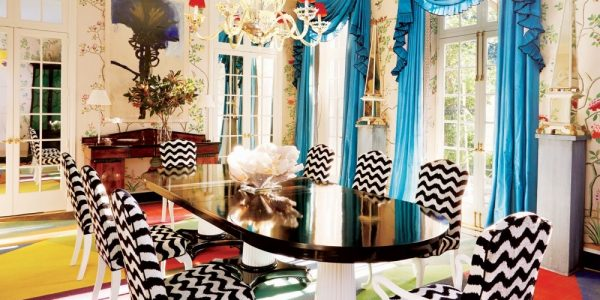 Impressive Colorful Dining Chairs With Colorful Geometric Rug Black White Dining Chairs Room Pillar Table Black Laquered Finish Better Decorating Bible Blog Cinoiserie Mural Painted Walls