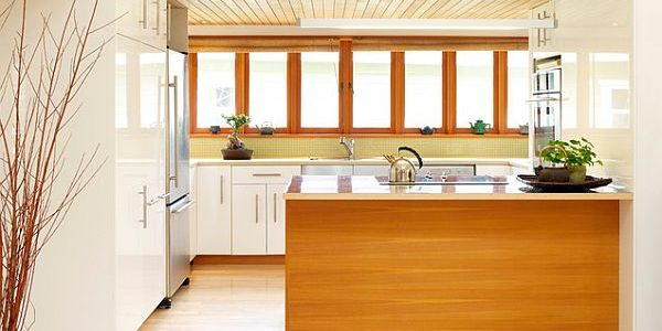Amazing Wooden Interior Design Ideas With Kitchen With White Cabinets And Wood Tone Island