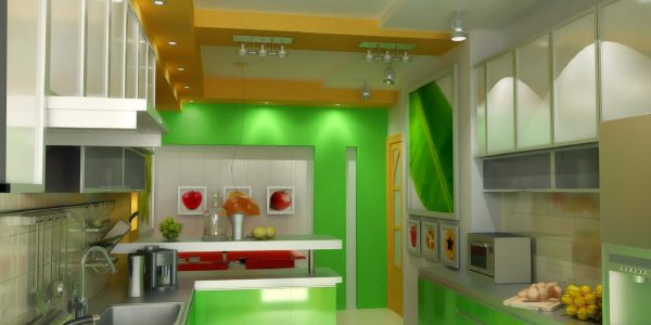 Custom Green Kitchen With Refreshing Green Kitchen Walls With Led Decor Also Track Lights And L Shaped Cabinets