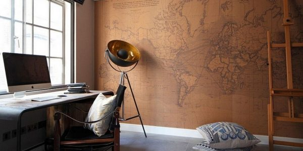 Cheap Unique Home Office Designs With Luxury Design Inspiration For Home Office With Brown Wall Map Also Unique Tripod Lamp