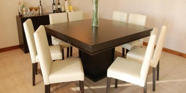 Good Dining Table Seats 8 With Dining Room Great Dining Room Top Photo Square Dining Table With Within Square Dining Table With Bench