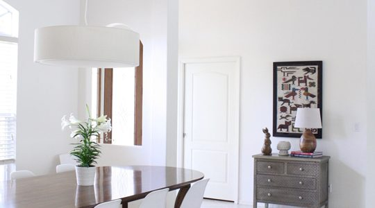 Beautiful White Dining Room With White Dining Room With Wood Table And Eames Chairs