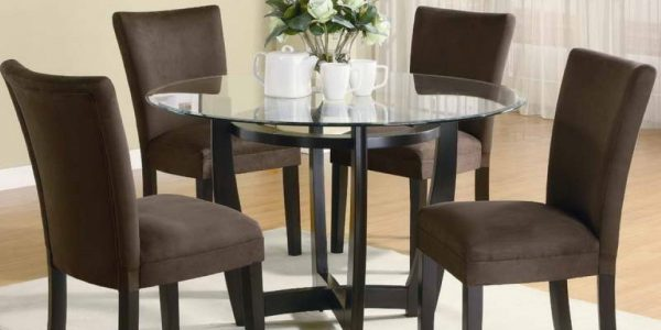 Great Small Dining Chairs With Small Dining Room Space With Chenille Dinig Chairs Also Glass Top Round Table