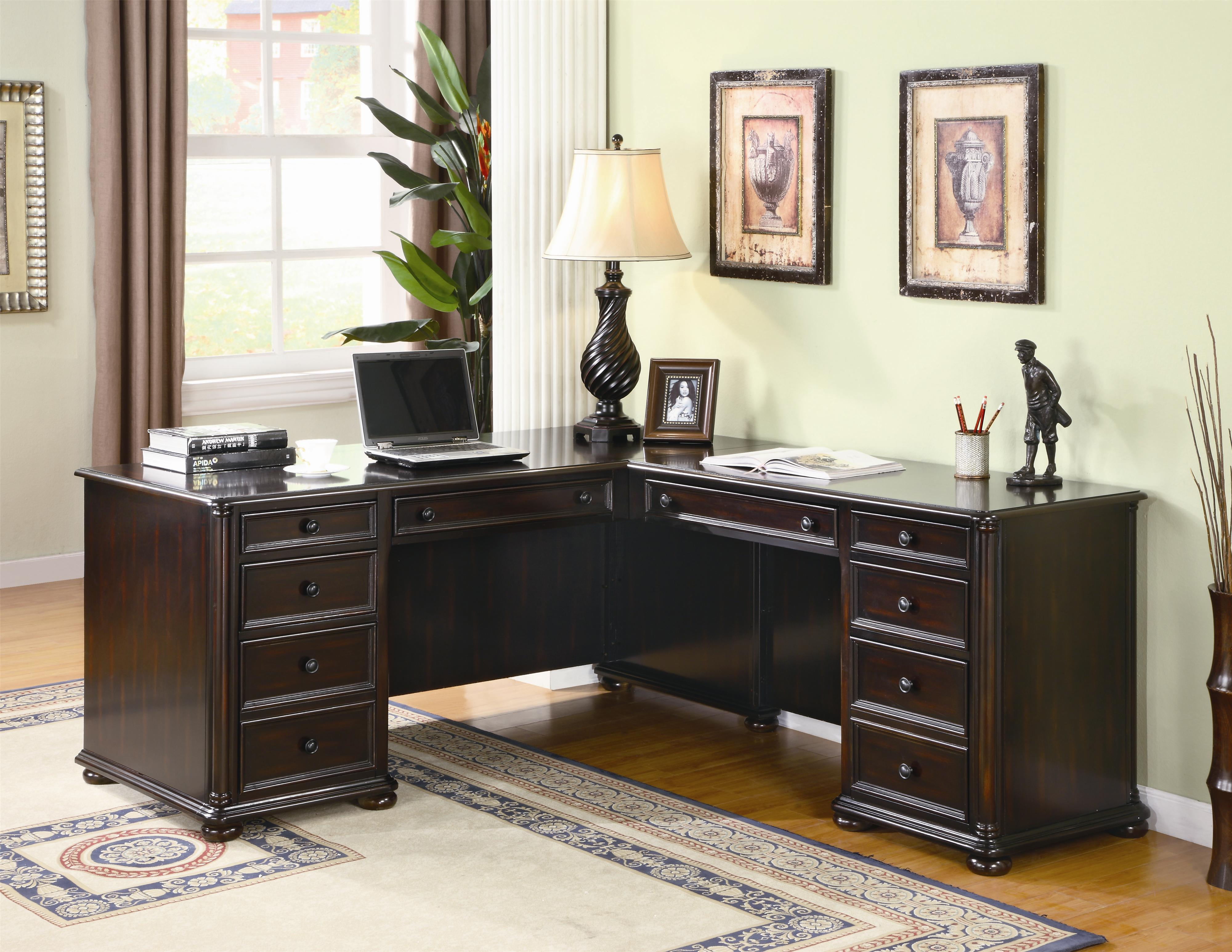 Best Desks Home Office With Interesting Sectional Modular Desks Home Office Which Are Made From Dark Brown Hardwood Material And Has Two Wall Painting And Corner Desk Lamp