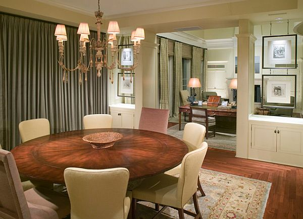 Round Dining Room Table. Minimalist Large Round Dining Room Table With In The