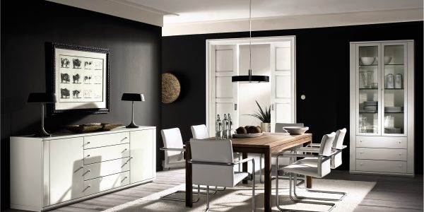 Minimalist Chic Interior Design Ideas With Outstanding Dining Room Ideas With Awesome White Interior Furniture And Cool Black Wall Color Paint Plus Interior Ideas Contemporary Home Interiors Condo Interior Design Dec