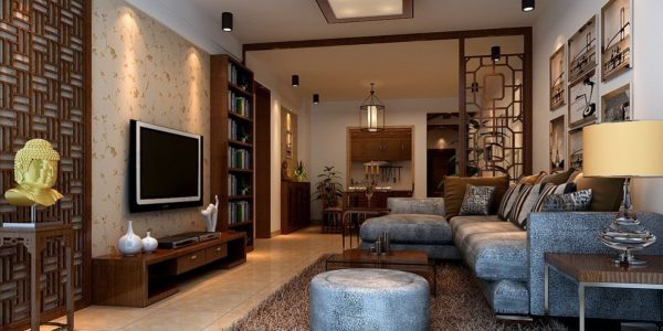 Beautiful Chinese Style Interior Design With Excellent Chinese Style Interior With Modern Furniture Sets Led Screen Tv Also Gold Statue Head Inside House And Creative Wall Design