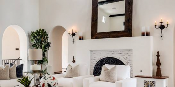 Fresh Colonial Interior Design Ideas With Amazing Spanish Home With Colonial Style Feat Black Iron Chandelier And White Leather Furniture Set