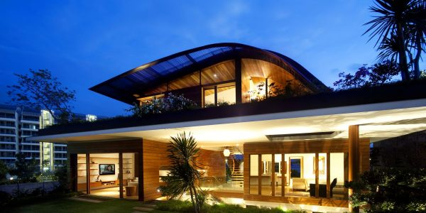 Good Contemporary Home Design With Night Front View Of Contemporary House Design Ideas With Roof Garden