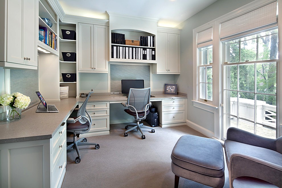 Awesome Built In Home Office Designs With Dazzling Built In Desk Ideas Gray Home Office Design Ideas With A