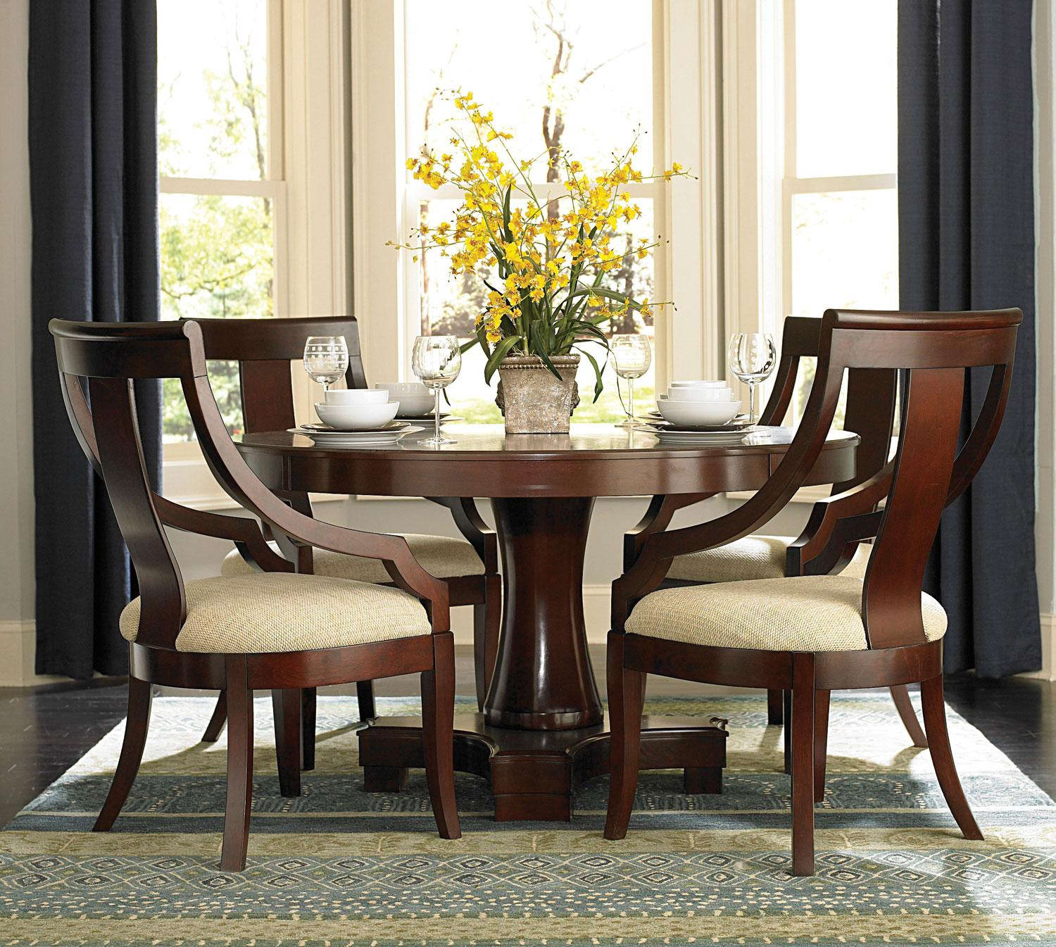 Great Round Dining Room Table For 8 With Beautiful Yellow Dining Table Centerpieces With Round And Laminated Chair Plus Bay Window