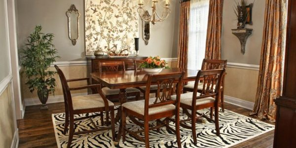 Popular Dining Room Rug Ideas With Small Dining Room Tables Natural Finish Wooden Chairs White Dining Furniture Sets Black Leather Wingback Stand Table Using White Cover Furnished Grey Pattern Wallpaper