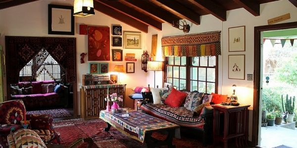 Luxury Bohemian Style Interior Design With Bohemian Living Room Clad In A Wide Variety Of Hues And Overlapping Rugs