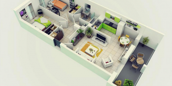 Awesome 3d Floor Plan Designer With Lime Green Apartment Design