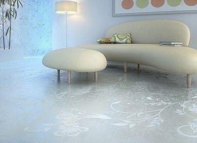 Excellent Floor Design With Transparent House Concrete Art Floor