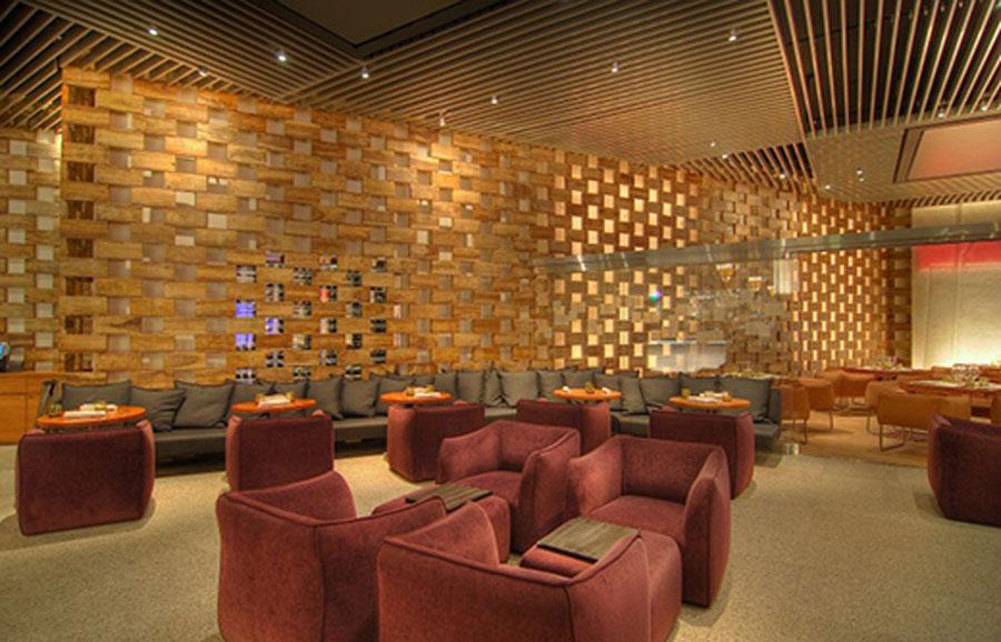 creative wood interior design ideas with modern decor hospitality restaurant interior design of stripsteak las vegas geometric wood decor - Restaurant Interior Design Ideas