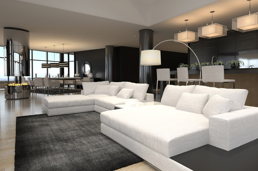 Brilliant Modern Living Room Decor With Black White Furnished Rhdogalzirveorg: Modern Living Room Decor At Home Improvement Advice