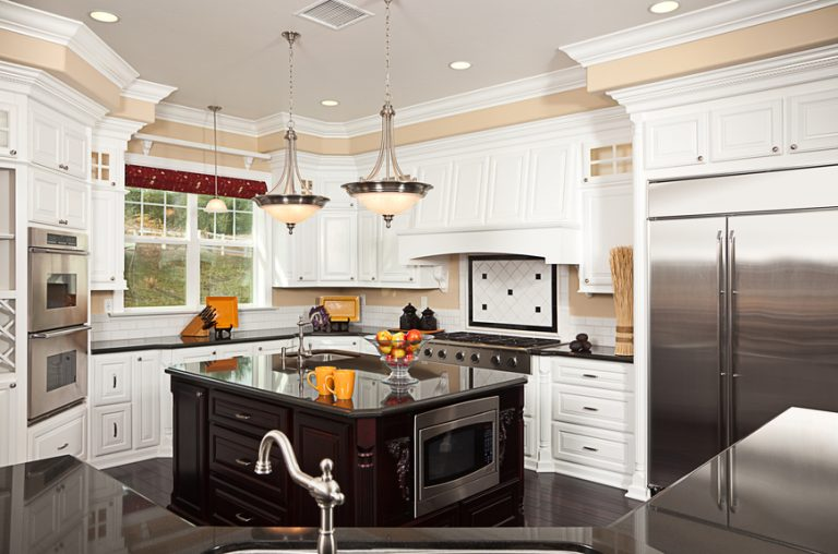 Cheap White Kitchen Designs With White Contemporary Kitchen With Island