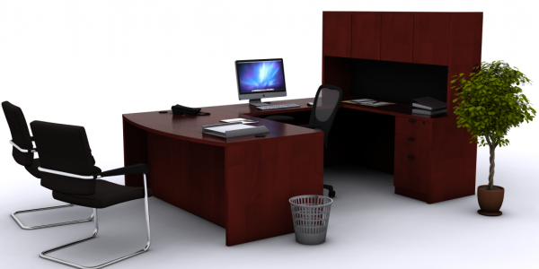 Minimalist Office Desk With Rendering U Shaped Bowfront Desk
