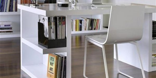 Trend Desk For Home With Tidy Bookshelves In White Small Office Desk Placed In Stylish Home Office With White Chair
